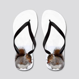 Squirrel in the snow Flip Flops